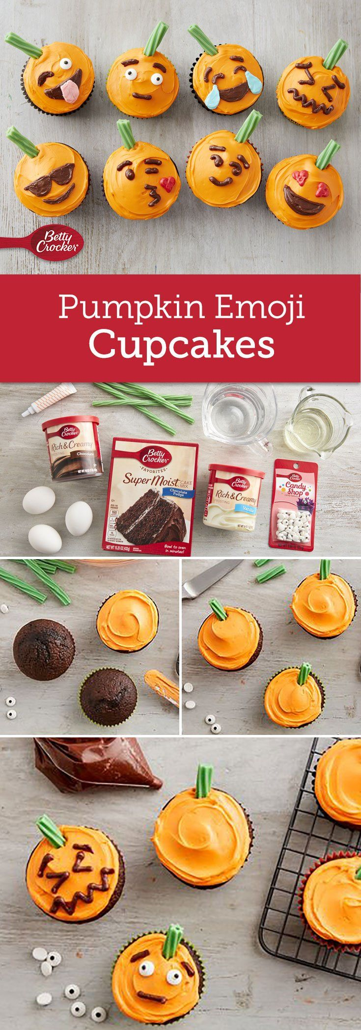 Emotions are on display this Halloween with these cute pumpkin cupcakes! Use a decorating bag fitted with small plain piping tip when using the chocolate frosting for a more polished decorating look.