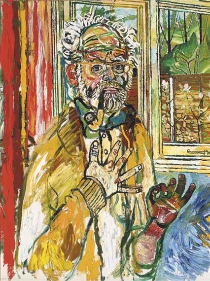 John Bratby - Self-portrait with yellow pipe.