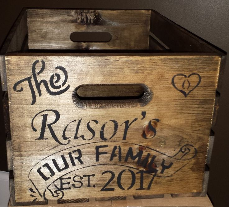 GIFT BASKET/GIFT CRATE/WEDDING GIFT/BRIDAL SHOWER GIFT/ANNIVERSARY GIFT/SPECIAL OCCASION GIFT/RETIREMENT GIFT/HOUSEWARMING/HOSTESS GIFT/FAMILY GIFT/FAMILY NAME/CHRISTMAS GIFT FOR FAMILY This crate comes as seen on the ends with the family name you would like. PLEASE LEAVE YOUR FAMILY NAME AND DATE IN THE MESSAGE BOX AT CHECK OUT WHEN ORDERING OR EMAIL IT TO ME. MY CONTACT INFO IS BELOW. The 4 side rails have a few options. Please choose ...