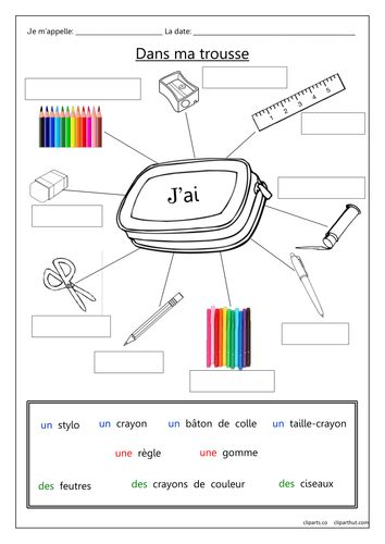 A gap-fill worksheet for practicing the names of pencil case items in French.  Follow on graduated worksheets to practice using the  the expression 'J'ai  ...