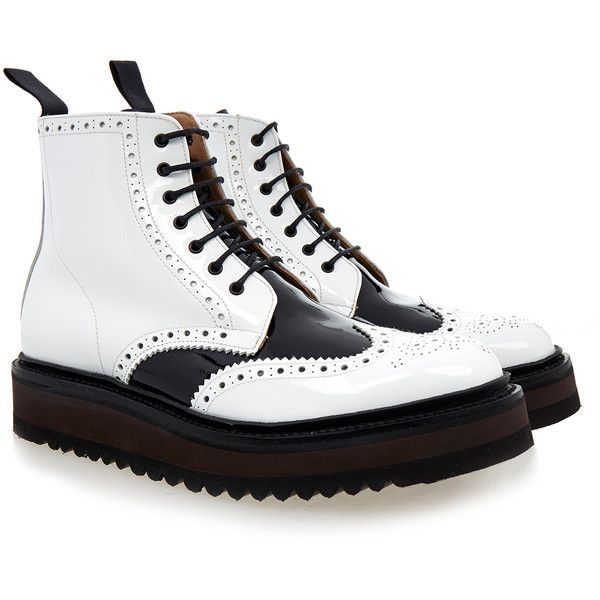 Grenson Emma Black/White Lace Up Boot ($180) ❤ liked on Polyvore featuring shoes, boots, white, black and white shoes, balmoral boots, white boots, white and black shoes and ankle length boots