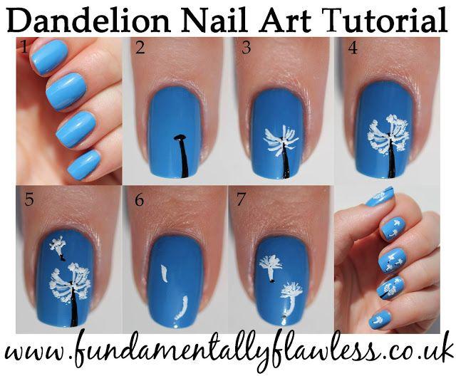Dandelion nail art tutorial - www.fundamentallyflawless.co.uk