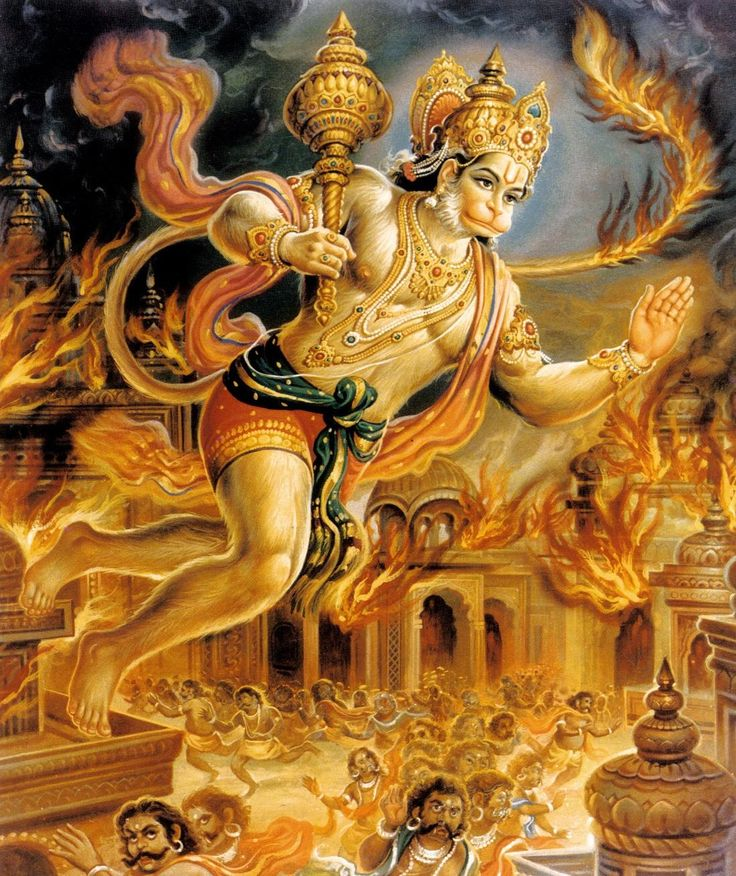 Hanuman burns Lanka with his tail on fire                                                                                                                                                                                 More