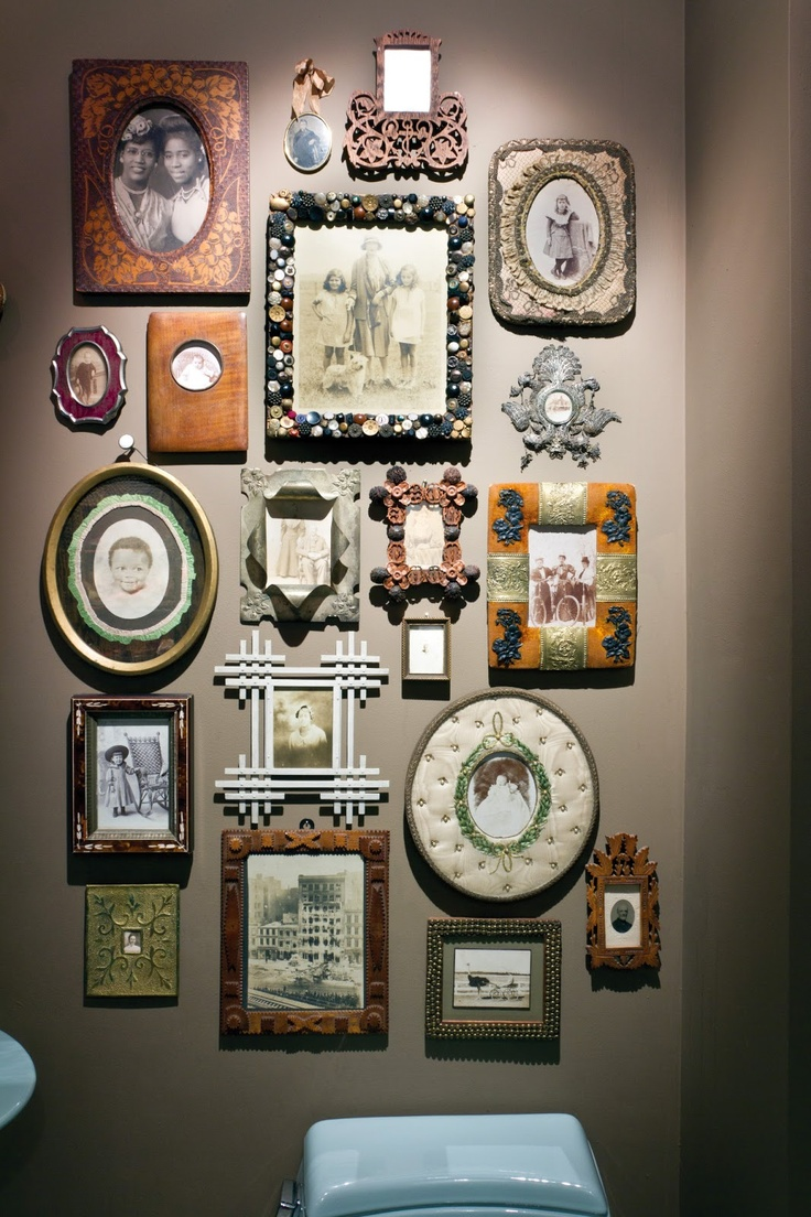 Eclectic frames. This is perfect. Never liked monotonous picture walls with their same everything.
