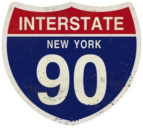 New York Interstate 90 Street Signs Custom Metal Shape - Victory Vintage Signs by Victory Vintage Signs. $26.95. Vintage Sign. Made in the USA. Quality Heavy Gauge Metal Sign. Dimension: 16 x 16. High Resolution Color Image. This New York Interstate 90 custom metal shape measures 16 inches by 16 inches and weighs in at 2 lb(s). This custom metal shape is hand made in the USA using heavy gauge american steel and a process known as sublimation, where the image is ba...