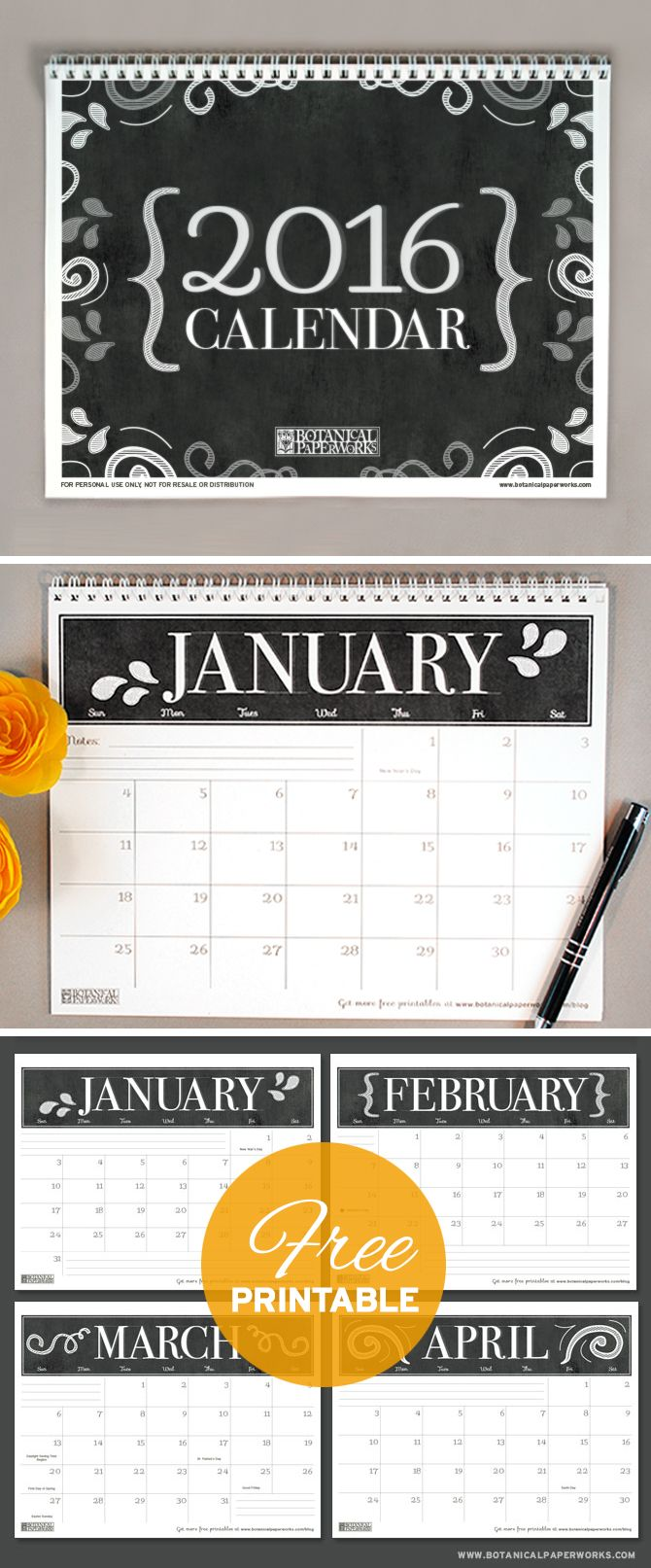 {free printables} Three Stylish 2016 Calendars