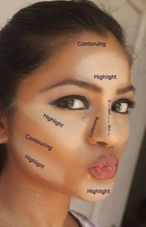 Contour Here's where exactly to be focusing your concealer — from the brow bone to under your eyes, around each nostril and more. Le Contouring, Make Up Tutorial Contouring, Contouring And Highlighting, Contouring Products, Eye Makeup, Contour Makeup, Drugstore Makeup, Makeup Kit, Makeup Tools