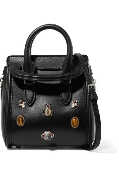 Alexander McQueen - The Heroine Mini Embellished Leather Shoulder Bag - Black - one size