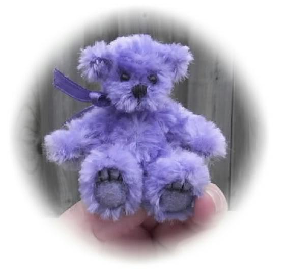 Tiny lilac mohair mini bear.
