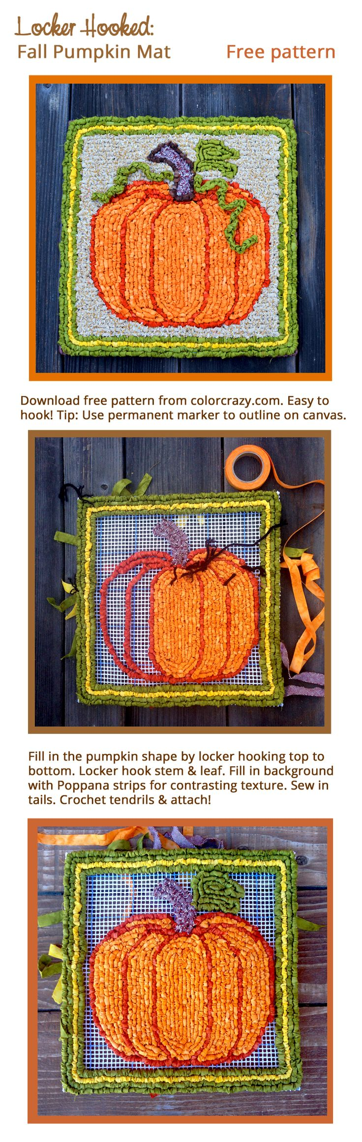 Locker Hooked Fall Pumpkin Mat - Free pattern from Colorcrazy.com.