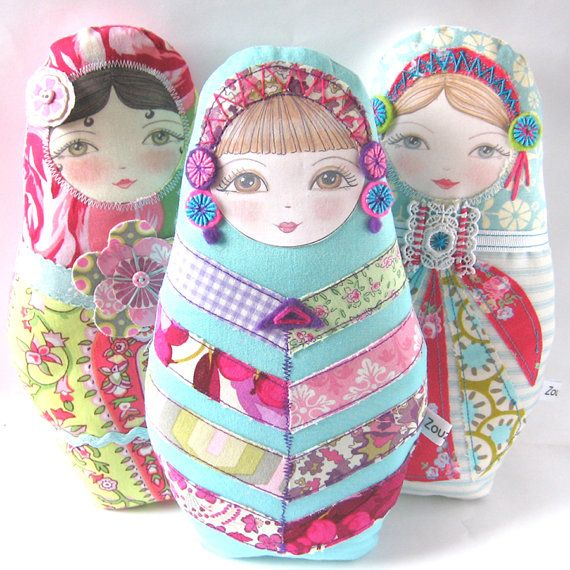 Chevron Design Patchwork Doll Matryoshka Doll Olga by zouzoudesign,