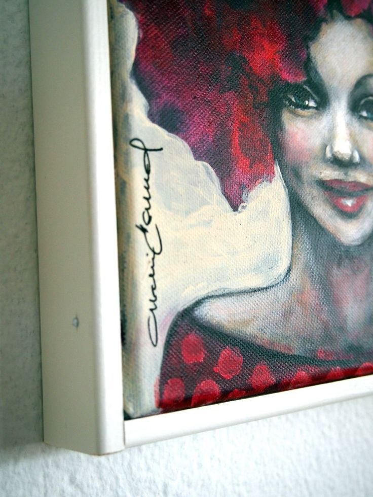 Small portrait of a woman with vivid dark red hair and a pink rose.  NOTE: The painting is labeled for sale as not framed, but has a frame of white painted wood strips, with a depth of about 3.5 ...