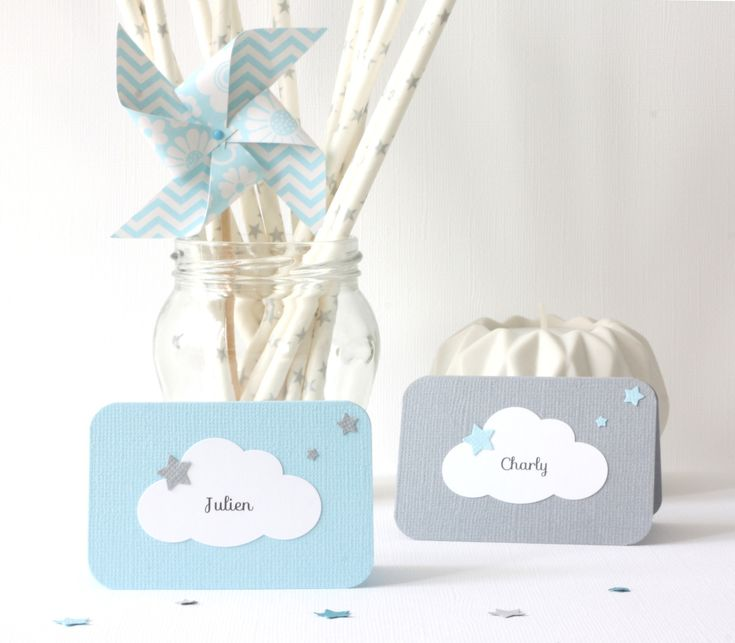 10 marque-places nuage et étoiles pour baptême, anniversaire... Coloris gris et bleu clair