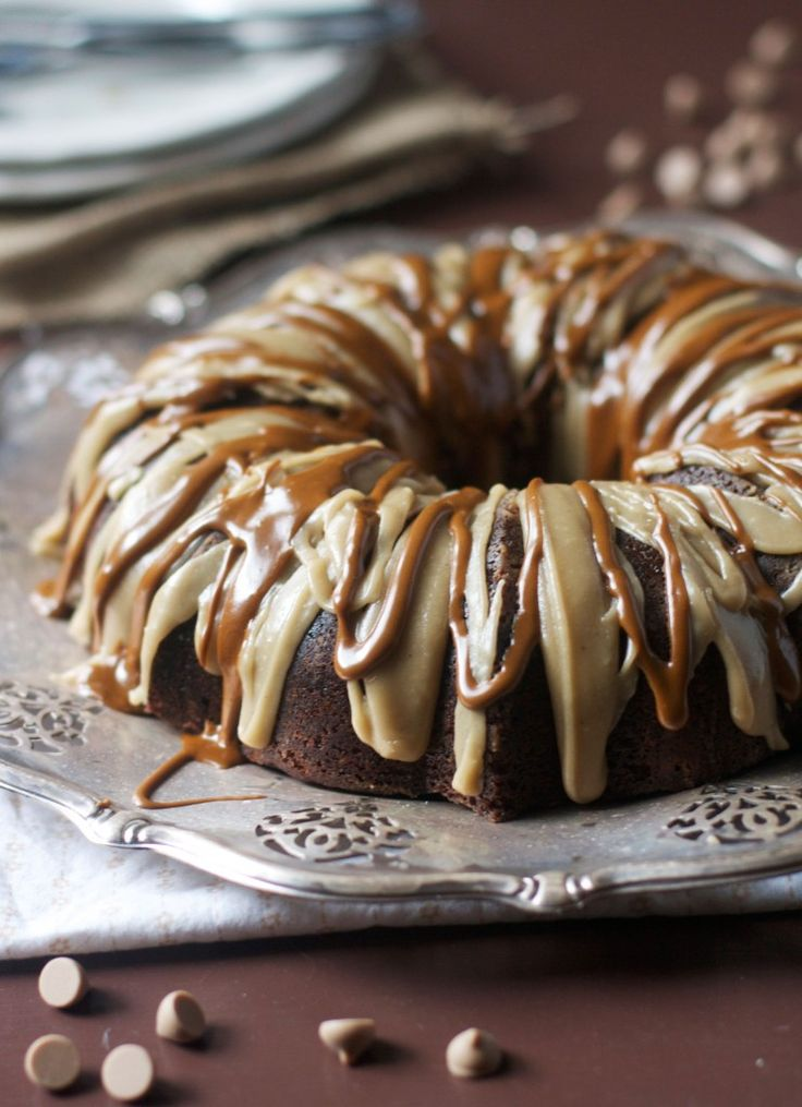 "Caramel Latte Bundt Cake ~ The Baker Chick says: ""This recipe was inspired by a bag of cappuccino chips that I bought when shopping in the King Arthur Flour store last month. They are super creamy & melt in your mouth, w a mild coffee flavor that I love. Unlike chocolate chips though, they almost melted right into the batter, creating little bursts of depth & flavor w each additional bite."""