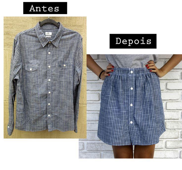 Transformando camisa masculina em saia! Reforma de roupas, saia de botões feita a partir de uma camisa masculina. Upcycling fashion