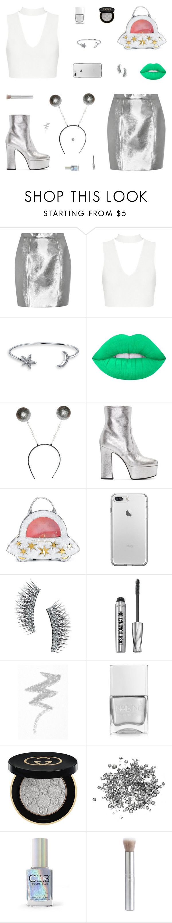 """Alien Costume"" by belenloperfido ❤ liked on Polyvore featuring Yves Saint Laurent, Bling Jewelry, Lime Crime, Charlotte Olympia, Kre-at Beauty, Bare Escentuals, NYX, Nails Inc., Gucci and Color Club"