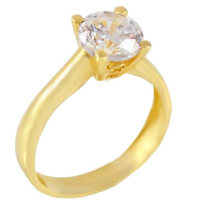 Μ175Ζ- Χρυσό μονόπετρο δαχτυλίδι