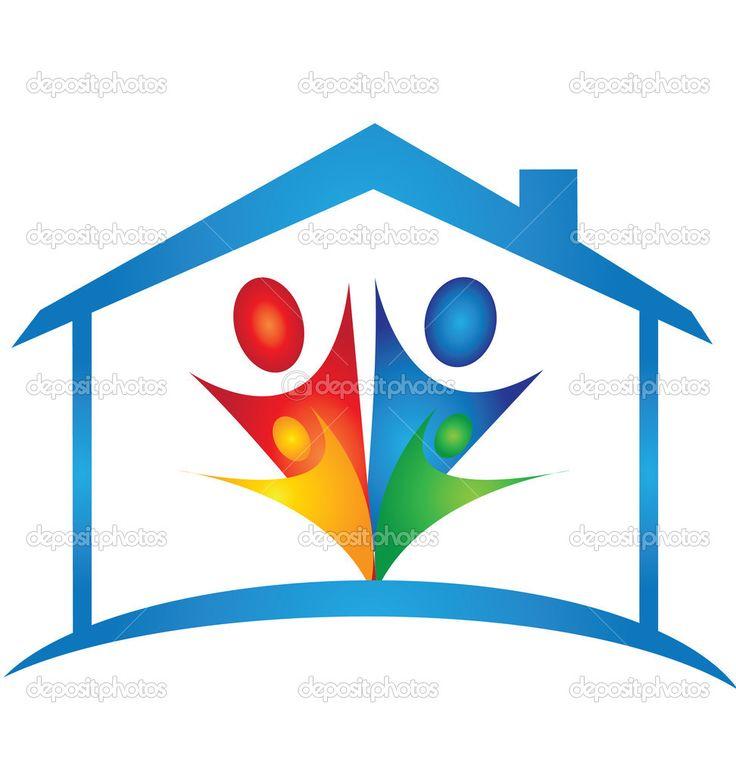Семья в новый дом логотип вектор — стоковая иллюстрация #13177177