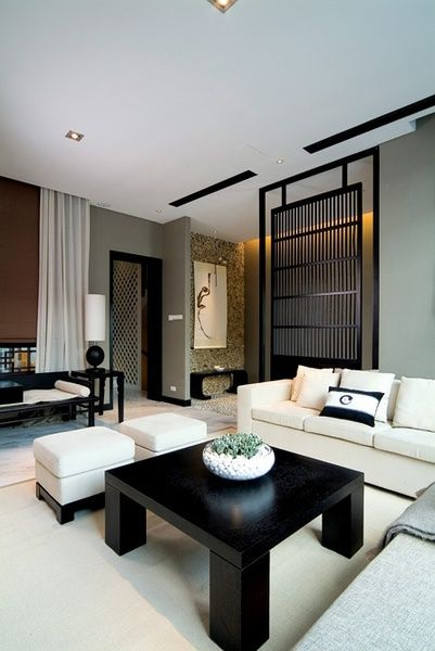 Zen and modern Chinese style villa decoration case - # # living room. ...Chinese Style Interior Interiordesign Deco Cecoration Home Asian