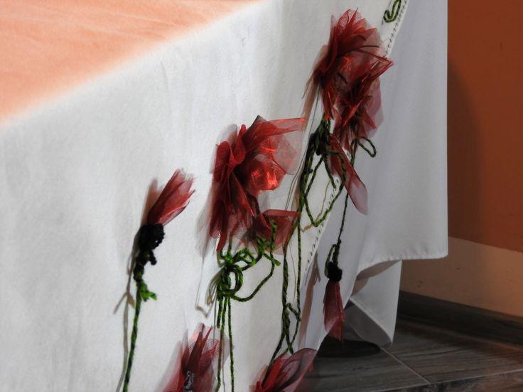 Obrus Prostokątny Rękodzieło Duży  Jasny- Kwiaty 3D Bawełna