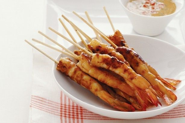 Teriyaki sauce works well with thick salmon fillets as well as these easy prawn skewers.