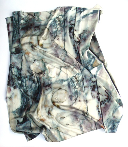 Slow and Steady Wins the Race  Bianco Marble Print Scarf  100% silk scarf by Slow and Steady Wins the Race.  $316