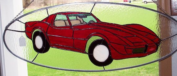 1976 Corvette Stained Glass by cpstainedglass on Etsy, $225.00