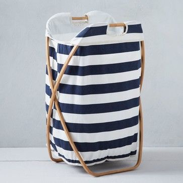 Bamboo Laundry Single Hamper, Hamam Stripe - contemporary - Hampers - West Elm