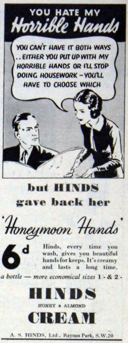 you hate my horrible hands!: Honeymoon Hands, Illustration, Funny, Hinds Cream, Dishpan Hands, Vintage Advertising, Hand Creams