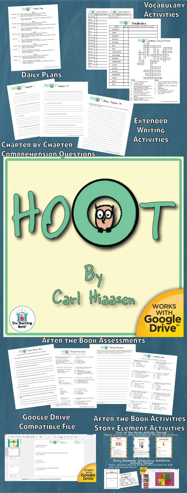 Hoot Novel Study is a Common Core Standard aligned book unit to be used with Hoot by Carl Hiaasen. This download contains both a printable format as well as a Google Drive™ compatible format.