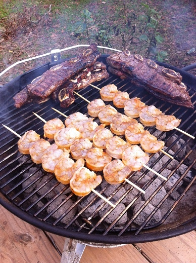 Grilled shrimp and beef ribs on the Weber Jumbo Joe.  Surf and Turf!!