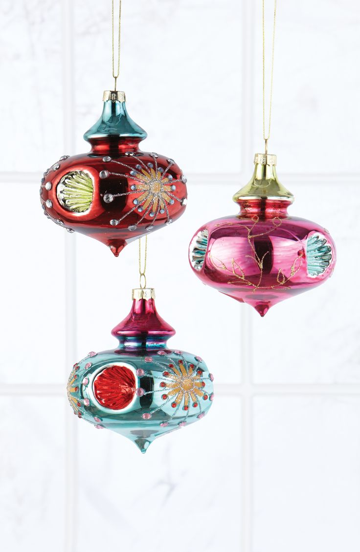 These Bulb Ornaments Feature Colortinted Glass, Sparkling Glitter Accents  And A Unique Indent