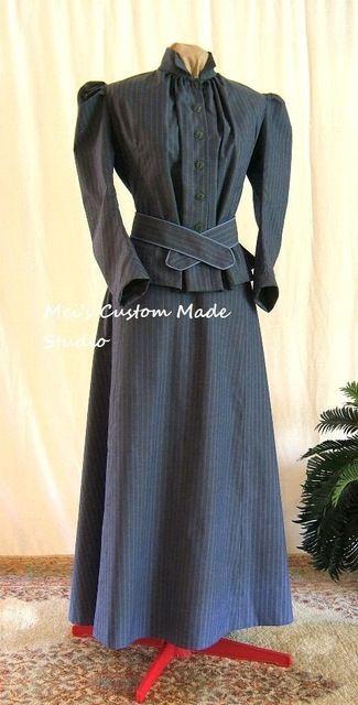カスタムメイド-1800 sビクトリア朝のドレス1912エドワード&タイタニックスタイル賑わいshapedtwo-ピース旅行衣装/ステージドレス