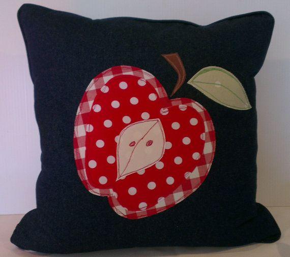 Apple cushion cover by handmadebysarahjane on Etsy