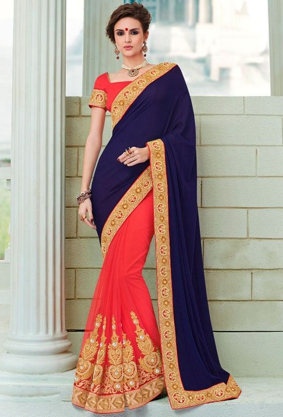 Dazzling Coral Red and Midnight Blue #Saree