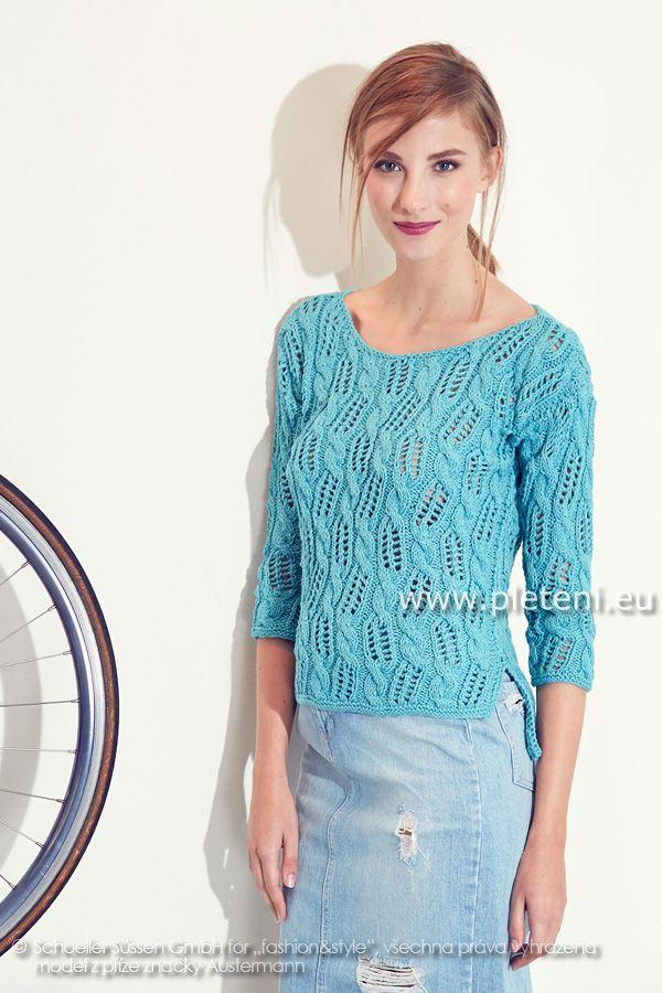 dámský letní ručně pletený svetřík z příze Whisper