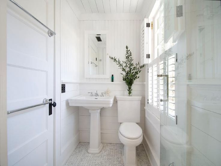 Cottage Bathroom Features Horizontal Beadboard Trim On Upper Walls And  Vertical Shiplap On Lower Walls Lined · Bathroom SmallSmall White ...