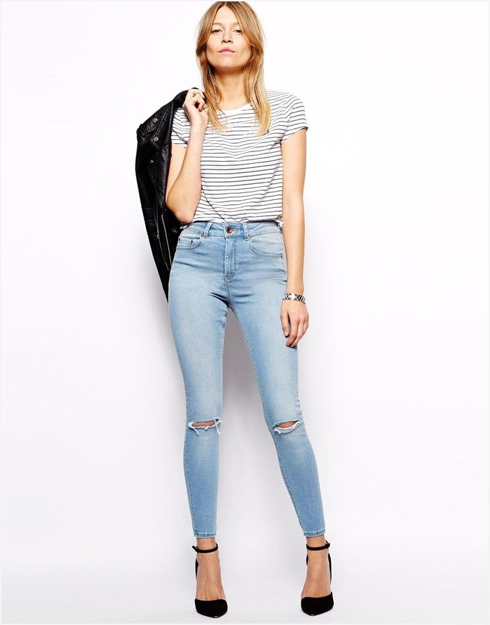 71c8ea9752 44 Stylish Ripped Skinny Jeans Outfit 91 Outfit with Light Blue Ripped Jeans  9