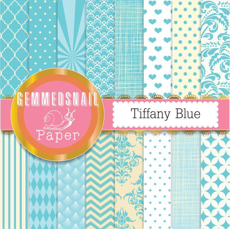 Tiffany blue digital paper 'Tiffany Blue' backgrounds, 16 blue patterns