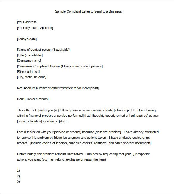 sample complaint letter send business download formats free templates and forms