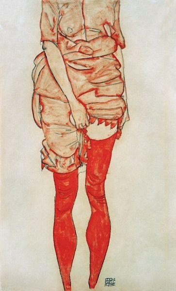 Titre de l'image : Egon Schiele - femme debout dans rouges