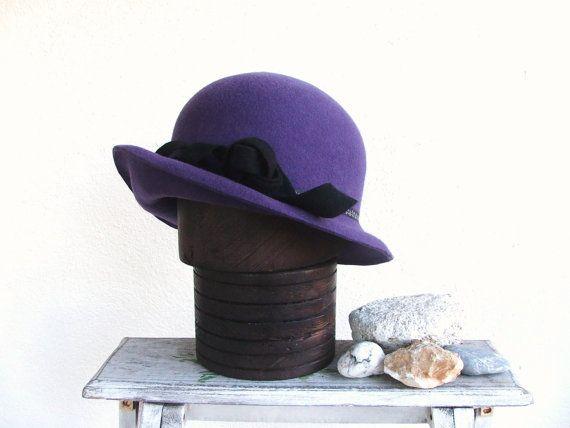 Purple womans bowler hat. Bowler hat with a by delisaboutique