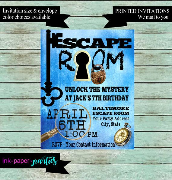 Escape Room Mystery Puzzle Blue Birthday Party Invitations