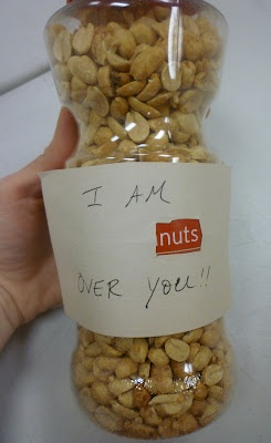 """several ideas for cute, """"punny"""" gifts for your significant other or a loved one :) (this one is """"I am nuts over you"""")"""
