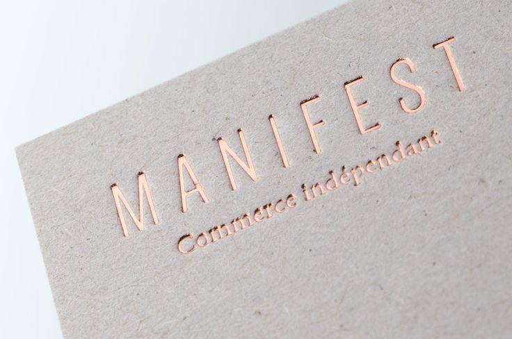 Cartes de visite imprimées en dorure à chaud cuivre sur carton gris 1mm (design Alexia Roux - réalisation LETTERPRESS DE PARIS)