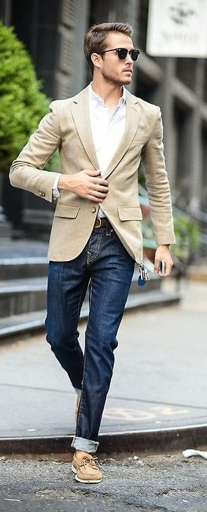 Meeting time — Jeans, white shirt, blazer, sunglasses, shoes. JustBeStylish.com