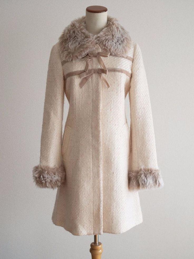 L'est Rose Tweed Style Bow Pink Coat Size Japan M Romantic Lolita Hime Gal #LestRose #BasicCoat #Casual
