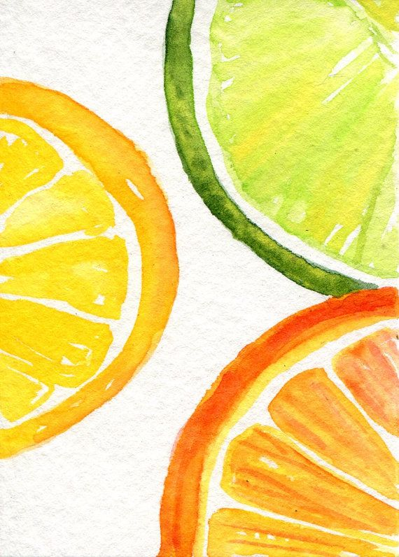 Orange, Lemon, Lime slices Watercolors Paintings Original, Fruit Series, ACEO, Original ART Card original watercolor of citrus fruit, lemon