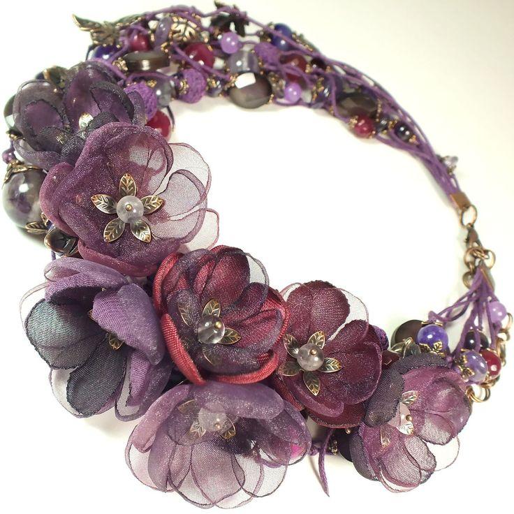 Купить Ежевичный Вальс. Колье, съёмный цветочный декор - комбинированный, ягодный, ежевика, сливовый, вишневый
