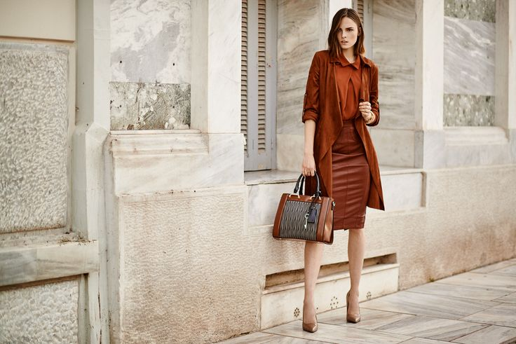 #streetstyle #leather #skirt #burgundy #bag #autumn #colors #fashion #trend